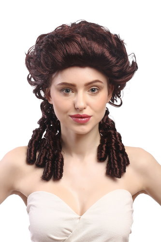 Lady Party Wig historic Cosplay Baroque Renaissance Victorian brown chestnut court spiral curls