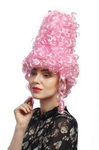 Lady Party Wig Halloween historic Cosplay Baroque Renaissance Victorian towering light pink beehive