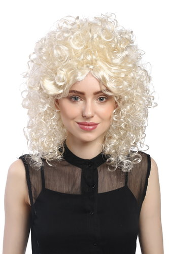 Lady Party Wig Halloween Fancy Dress Baroque extravagant Afro Beehive 60s 70s curls bright blond
