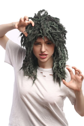 Lady Man Party Wig Grey Green Aquarius Mermaid Water Sprite thick matted Strands Rasta Dreadlocks