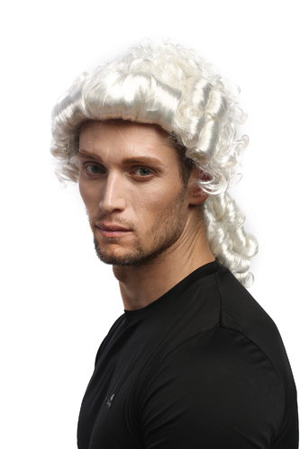 Man Gents Party Wig Halloween Fancy Dress Baroque noble aristocrat lord curls long ponytail white