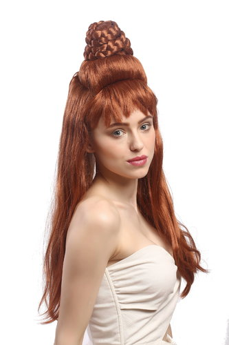Lady Party Wig Fancy Dress Cosplay Jeannie 50s 60s Vintage Beehive Odalisque braided light brown