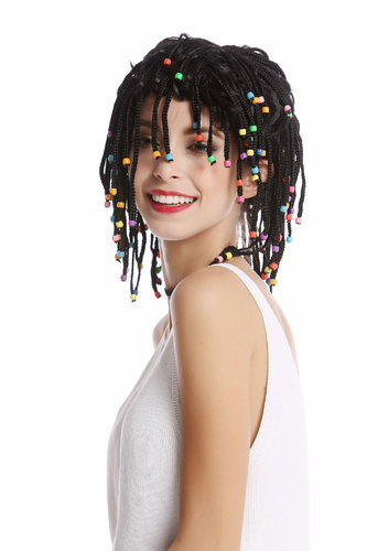 Wig Women Men braided strands with pearls Afro Caribbean style Reggae Soccer Player Beach Hippy