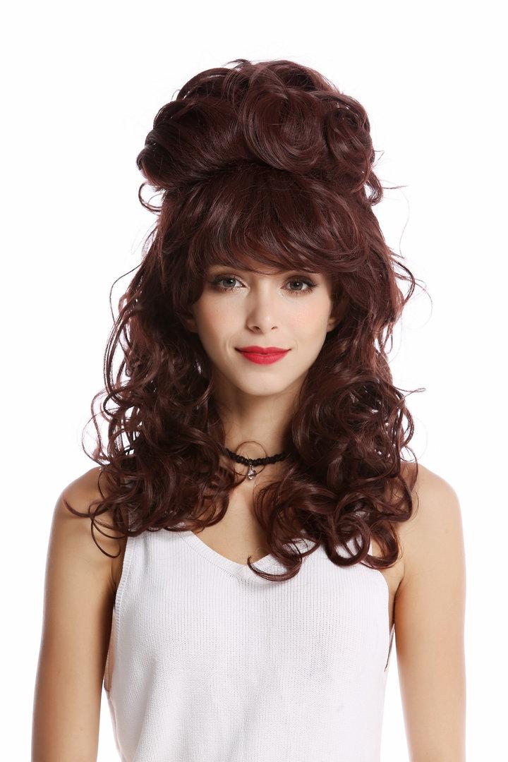 Quality Lady Wig Baroque 60s Beehive Retro Bun Curly Long