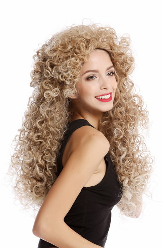 Perücke Lang Locken Blond Mix Mähne YZF-4380-27T613