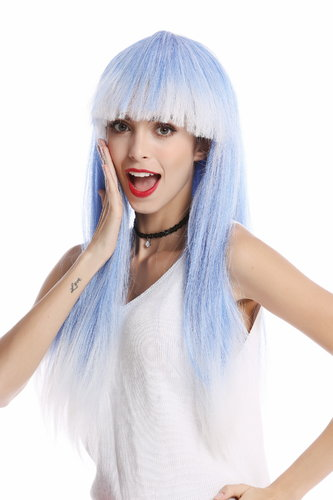 WIG ME UP ® -PC3TP60 Lady Wig Halloween Carnival long straight bangs glam disco dancer blue white