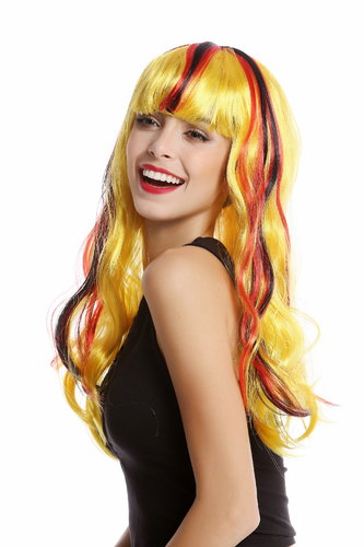WIG ME UP ® - 90923 Lady Fan Wig Germany black red yellow long wavy