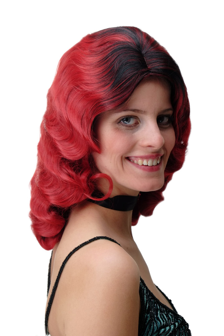 Quality Lady Wig Classic Hollywood Diva Femme Fatale water wave wavy long  ombre black red 3db14a4f4