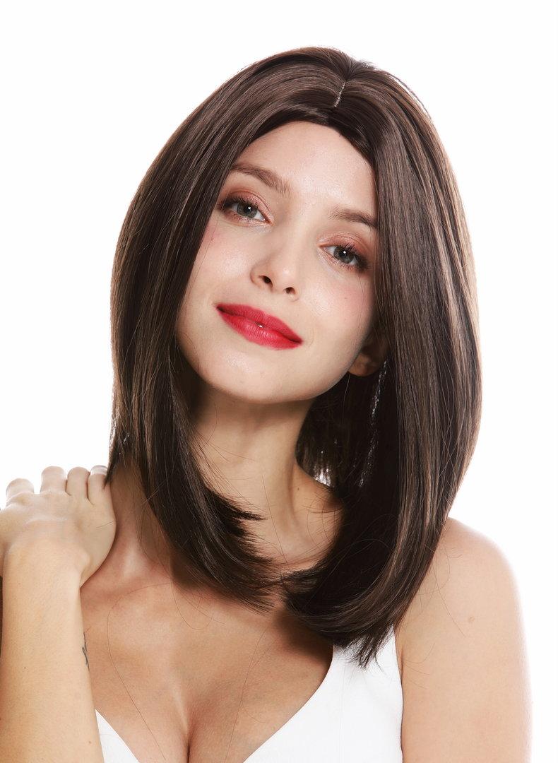 women\u0027s quality wig shoulder length short long bob middle parting sleek  brown GFW2336,6