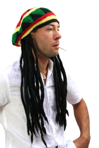 WIG ME UP ® - Party/Fancy Dress/Halloween DOPE Hat Cap with DREADLOCKS RASTA Jamaica Reggae Ska
