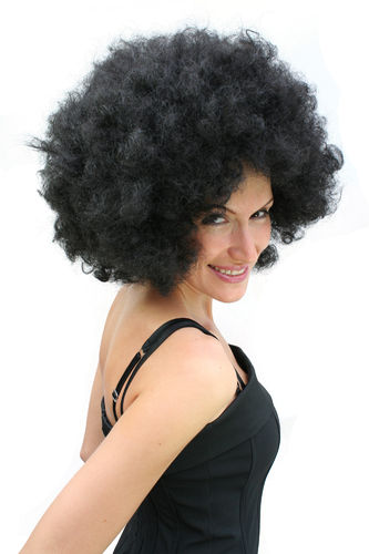 PW0011-P103 Party Wig for Halloween Fancy Dress Cosplay Men Women Big Black Afro Afrowig 70s Funk