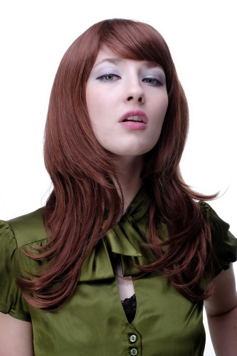 Lady QUALITY Wig mixed BROWN & COPPER RED = auburn LONG wavy FRINGE bangs (4038 Colour 33A130)