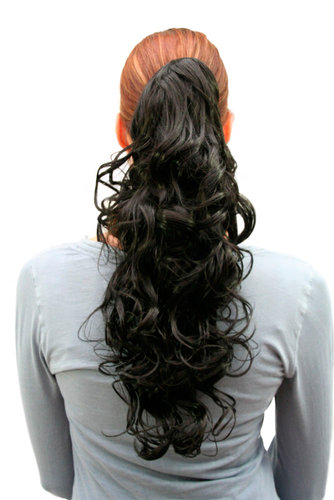 Hairpiece PONYTAIL medium length curls BLACK (C128 Colour 2) Butterfly Clip-on
