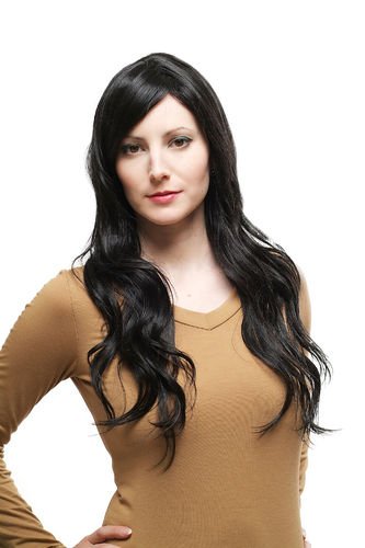 BEAUTIFUL black Lady Quality Wig CUTE PARTING wavy long (9320 Colour 2)
