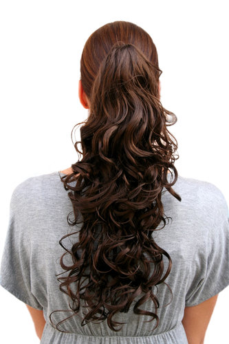 Hairpiece PONYTAIL medium length curls BROWN BRUNETTE (C128 Colour 6) Butterfly-Clip