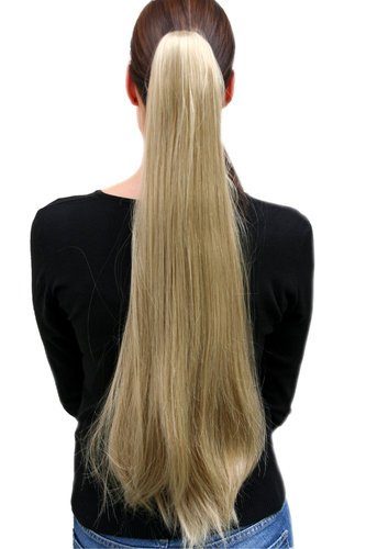 Hairpiece PONYTAIL very long straight medium BLOND Butterfly Clamp Clip-On Extension