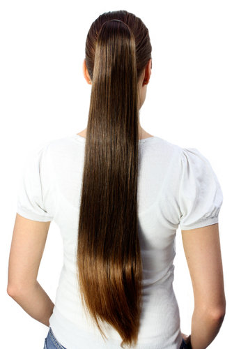 Hairpiece PONYTAIL very long straight BRUNETTE Mix brown chestnut Butterfly Clamp Clip-On Extension