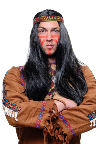 Party/Fancy Dress WIG man/woman with headband (not fixed to wig) INDIAN Native American squaw