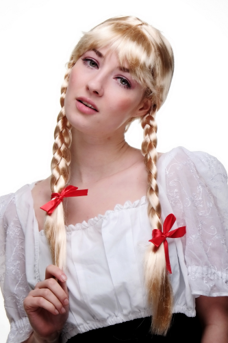 Party/Fancy Dress Lady WIG fringe BLOND 2 long BRAIDS Plaids pigtails OKTOBERFEST Dutch German Maid