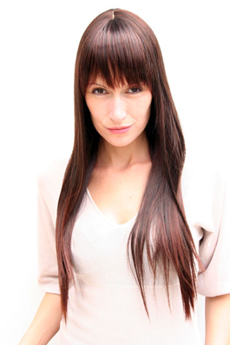 NAUGHTY & SEXY cut LADY Quality WIG brunette brown FRINGE (LA033 Colour 2T33B)