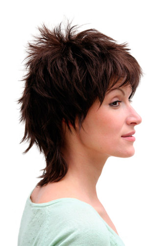 80ies NEW WAVE Lady QUALITY Wig RETRO cosplay BRUNETTE brown (26155 Colour 6)