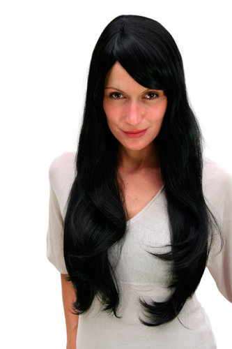 BREATHTAKING black LADY QUALITY WIG very long straight SEXY PARTING (3111 Colour 1B) Cosplay Gothic