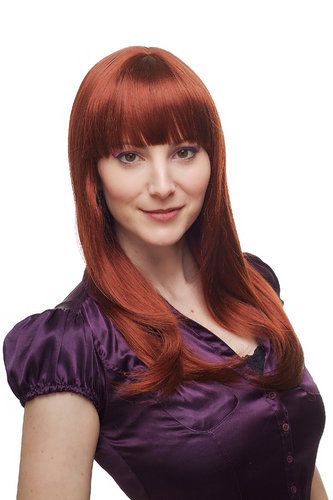 FOXY Lady QUALITY Wig RED straight BANGS fringe (3114 Colour 350)