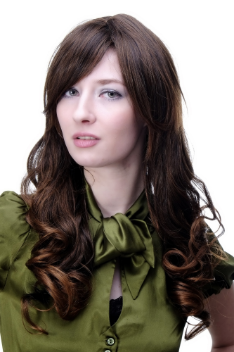 DREAM lady quality WIG long BRUNETTE brown mix COYIy curling ends PARTING (9319 Colour 2T30)