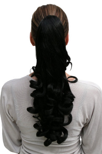 Hairpiece PONYTAIL medium length slightly curled BLACK (NC19 Colour 2)