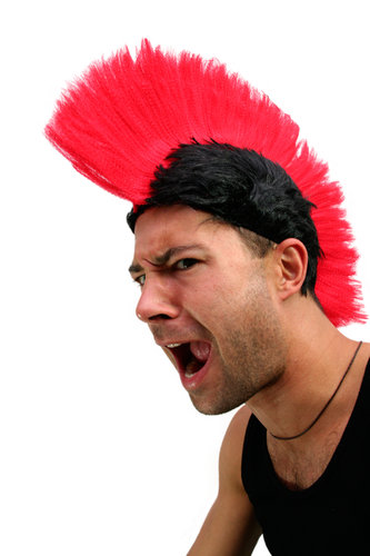 Party/Fancy Dress/Halloween MOHAWK Punk Spartan RED on Black LM-420-P103/PC3 ANARCHY in the UK