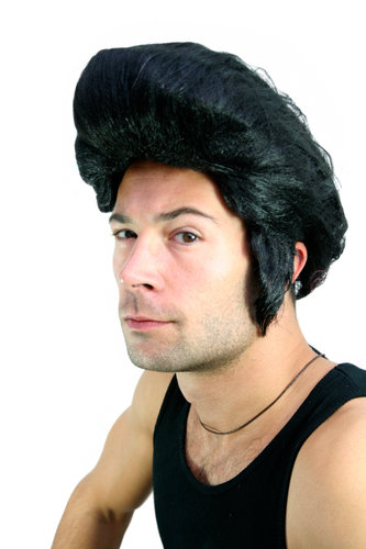 Party/Fancy Dress/Halloween WIG Men BLACK Elvis Quiff Rockabilly Fonz lm-706-P103