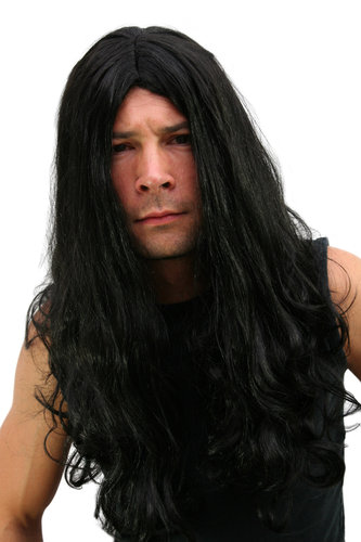 Party/Fancy Dress Wig Unisex LONG & BLACK sinister satanic middle parting DEATH BLACK METAL