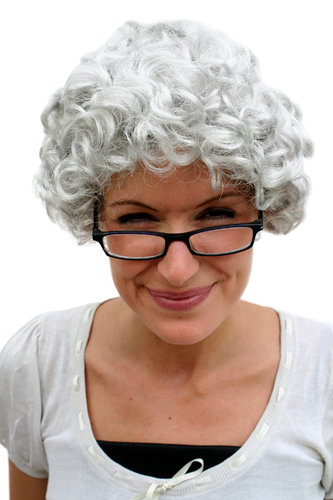 Party/Fancy Dress/Halloween Lady WIG grey curl GRANNY old spinster woman dame Grandmother