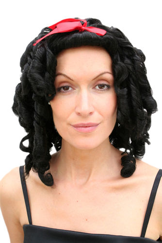 Party/Fancy Dress Lady WIG black colonial civil war VICTORIAN ERA beauty coils curls Gothic Cosplay