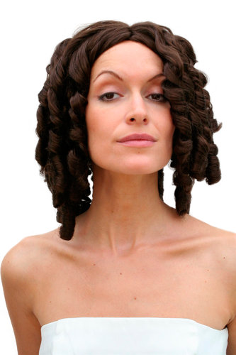 Party/Fancy Dress Lady WIG BROWN colonial civil war VICTORIAN ERA beauty coils curls baroque PIRATE