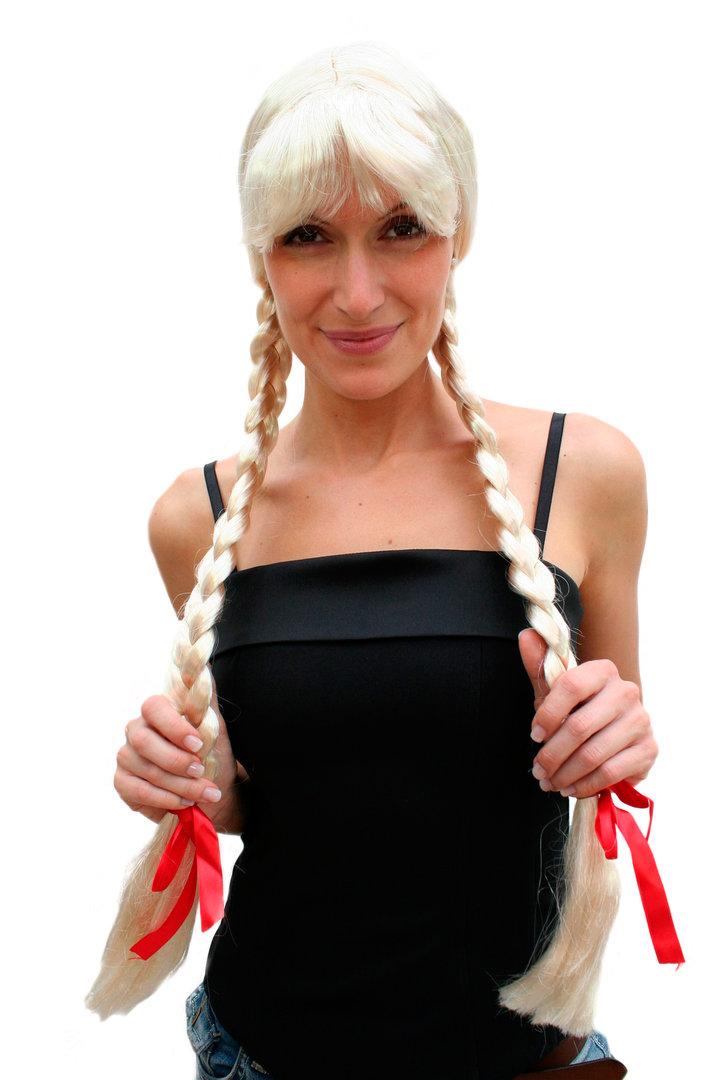 BLONDE HAIR PLAITS RED BOW HEADBAND WIG SCHOOLGIRL HEIDI OKTOBERFEST FANCY DRESS