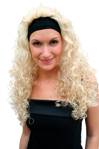 Perücke & Stirnband BLOND lang Locken Vamp PW0102-KB88