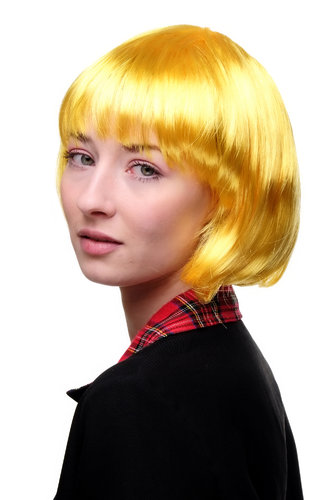 Party/Fancy Dress/Halloween Lady WIG Bob fringe short YELLOW disco PW0114-PC2B COSPLAY