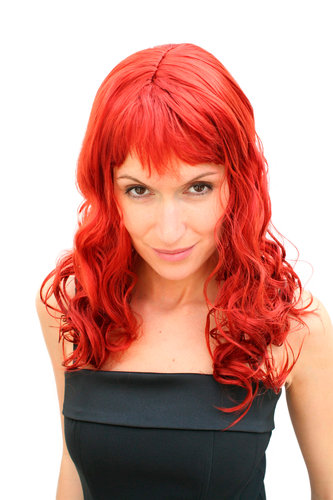 Party/Fancy Dress Lady WIG long fire RED fringe slightly curly FRINGE Hollywood Diva Femme Fatale