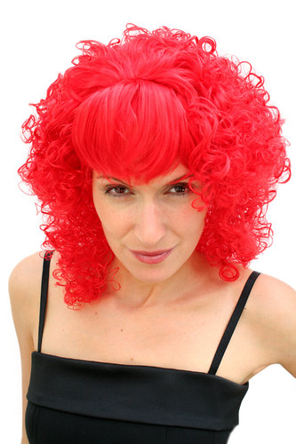 Party/Fancy Dress/Halloween Lady WIG ruby RED fringe curls curly DIVA Drag Queen PW0017-KIIC12