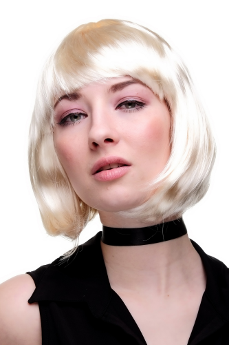 Party/Fancy Dress/Halloween Lady WIG Bob fringe short PLATINUM BRIGHT BLOND disco COSPLAY