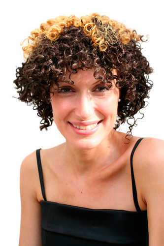 Party/Fancy Dress/Halloween WIG AFRO CARIBBEAN style very curly kinky BROWN with daring highlights