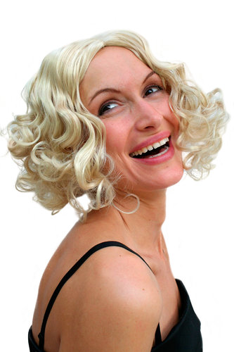 Party/Fancy Dress Lady WIG middle parting curls bright BLOND 20ies Swing GOLDEN ERA Hollywood Diva