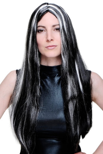 Party/Fancy Dress Lady WIG long MIDDLE PARTING BLACK & White/grey/silver strands streaks evil queen