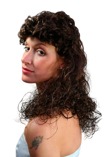 Party/Fancy Dress/Halloween Lady WIG long curly COLONIAL confederation BROWN brunette LM3045-P4
