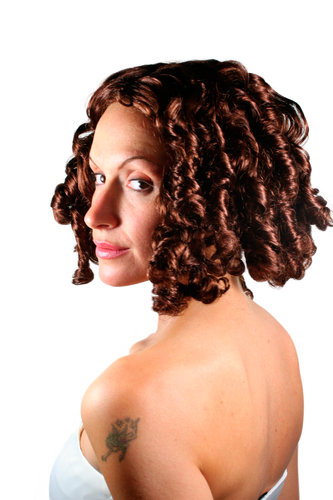 Party/Fancy Dress Lady WIG BRUNETTE colonial civil war VICTORIAN ERA beauty curls baroque PIRATE
