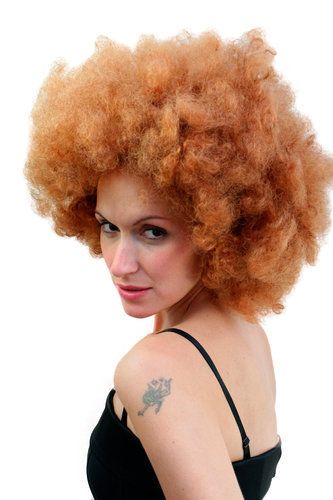 Party/Fancy Dress AFRO WIG reddish red-brown brunette foxy brown funk 70ies SUPERBAD HUGE VOLUME