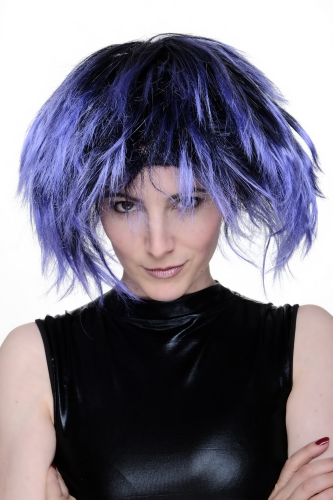 Party Wig for Halloween Fancy Dress Cosplay Blue Black Punk Wave 80s Disco Spikey Hair
