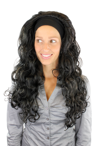 Party/Fancy Dress Lady WIG + headband (fixed to wig) long voluminous LATIN CARIBBEAN BLACK CURLS