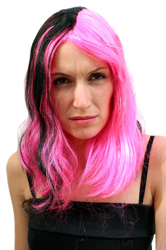 Party/Fancy Dress/Halloween Lady WIG long BLACK and PINK two-face PUNK EMO COSPLAY GOTH straight
